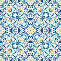Portuguese tiles seamless pattern illustration in blue and orange like Stock Image