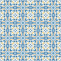 Portuguese tiles seamless pattern illustration in blue orange and yellow like Royalty Free Stock Photo