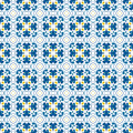 Portuguese tiles seamless pattern illustration in blue and yellow like Royalty Free Stock Photos