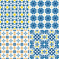 Portuguese tiles set of four seamless pattern illustration in blue orange and yellow like Stock Image