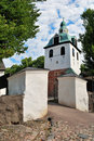 Porvoo, Finland. Old stone Church gate and belfry Royalty Free Stock Image