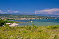 Posedarje bay and velebit mountain dalmatia croatia Royalty Free Stock Images