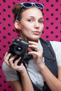 Posing during a taking selfie trendy girl Stock Images