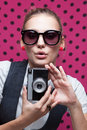 Posing during a taking selfie trendy girl duckface Royalty Free Stock Image
