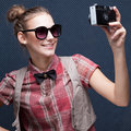 Posing during a taking selfie trendy girl duckface Stock Image