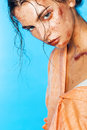 Posing woman with body art of orange glitters fashion beauty make up Royalty Free Stock Photos