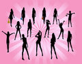 Posing women - silhouette  illustration Stock Photos