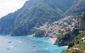 Positano amalfi coast italy panoramic view of Stock Image