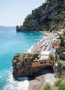 Positano beach costiera amalfitana italy panoramic view of a near in the amalfi coast Stock Image