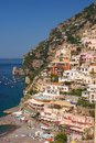 Positano cliffside mediterranean sea meets buildings in italy Royalty Free Stock Photos
