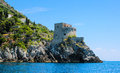 Positano watch tower historic near taken from the sea while in a boat trip Stock Images