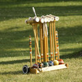 Positionnement de jeu de croquet Photo stock