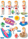 Positionnement de plage de fille de Bikibi Images stock