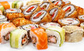 Positionnement de roulis de sushi grand Images stock