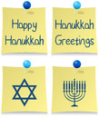 Positionnement heureux de post-it de Hanukkah Images libres de droits