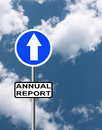 Positive annual report business background road sign cloudy but sunny sky Royalty Free Stock Photography