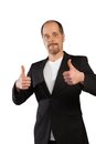 Positive attitude a businessman with a with thumbs up on a white background Royalty Free Stock Photography