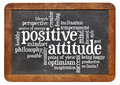 Positive attitude concept on blackboard a word cloud a vintage isolated white Stock Images