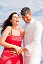 Positive beach couple Royalty Free Stock Images