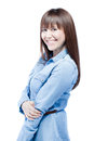 Positive casual business woman portrait smiling and looking at camera Royalty Free Stock Image