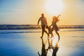 Positive family running with fun on the sunset beach happy father mother baby son hold hands and run along edge of sea black sand Stock Image