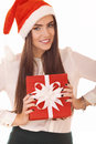 Positive girl with gift box Stock Photos