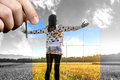 Positive life perspective young woman standing on field with hands wide open concept of personal toward Royalty Free Stock Photo