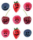 Positive and negative emotion fruit set with blueberries strawberries raspberries cherries Royalty Free Stock Image
