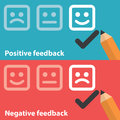 Positive and negative feedback vector illustration of concept minimal flat design Royalty Free Stock Photography