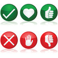 Positive and negative interaction icon set with different options for buttons Royalty Free Stock Photos