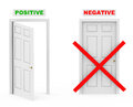 Positive and negative open door closed blocked door Stock Photos