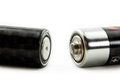 Positive negative terminals two batteries Royalty Free Stock Images