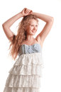 Positive teen girl in dress portrait isolated on white background Royalty Free Stock Photos