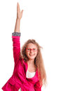 Positive teen girl in glasses showing hand gestures portrait isolated on white background Royalty Free Stock Photography