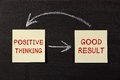 Positive thinking and good result sticky notes pasted on a blackboard background with chalk arrows Stock Images