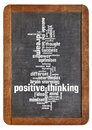Positive thinking word cloud of words or tags related to on a vintage slate blackboard isolated on white Royalty Free Stock Photography