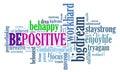 Positive thinking, words attitude concept.