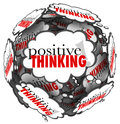Positive thinking words thought clouds sphere the in to represent a great attitude being important to achieving success and Royalty Free Stock Images