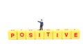 Positive thinking written on yellow blocks over white background Stock Photos