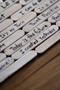 Positive thoughts for self esteem building close up of a hand written message on a popsicle stick as a concept Royalty Free Stock Image