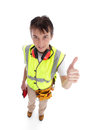 Positive trainee builder laborer thumbs up Stock Photo