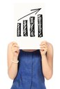 Positive trend a woman holding a sketch of a bar chart showing a Royalty Free Stock Images