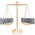 Positive und negative wiegen wahlen auf skala Stockbilder