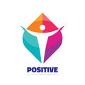Positive - vector logo template concept illustration. Abstract human character silhouette. Vibrant color symbol. Design element Royalty Free Stock Photo