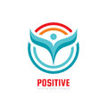 Positive - vector logo template concept illustration. Human character abstract sign and circles. People icon. Man figure symbol. Royalty Free Stock Photo