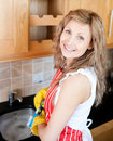 Positive woman doing the dishes Stock Image