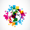 Positive world globe abstract background Stock Image
