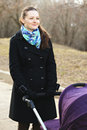 Positive young woman with stroller looking sideways Stock Photography