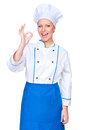 Positivity young cook showing ok sign Stock Photography