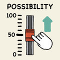 Possibility scale illustration of cartoon hand push the switch Royalty Free Stock Photos